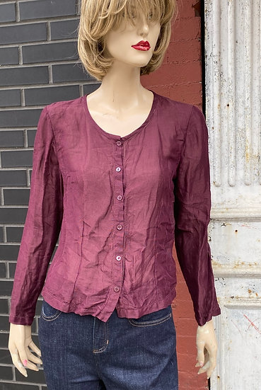 Eileen Fisher Burgundy top.Size Small.64%linen. 36% Silk .Made in China.