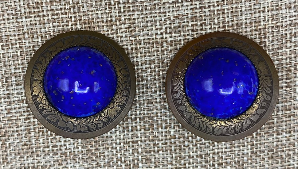 Clip on Earrings- 1980's Brass and Blue Lapis.