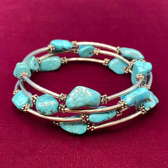 Bracelet- Silver tone/ turquoise wrap around wrist/arm