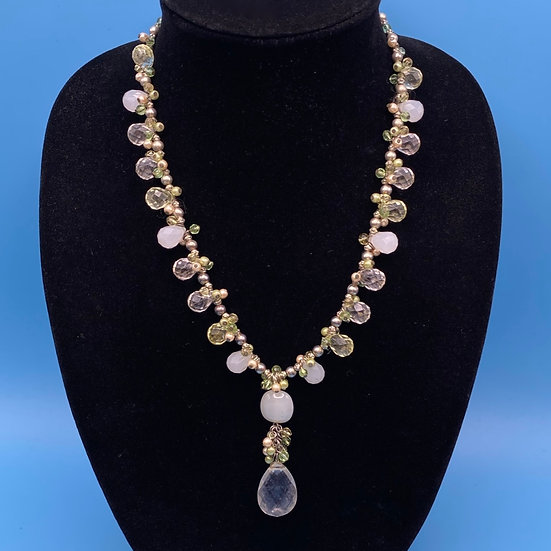 """Necklace- Green/ pinkish/ clear faux crystals. Length 24"""""""