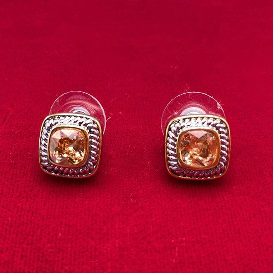 Earrings-pieced sq cornealian glass.
