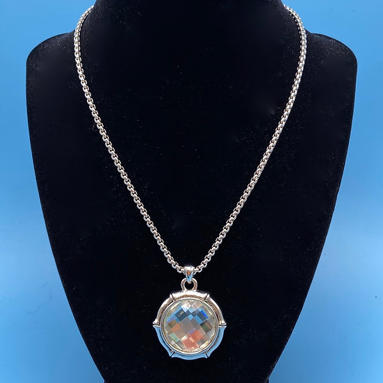 Necklace- Silver tone chain with cut glass and etched back pendant. Reversible.