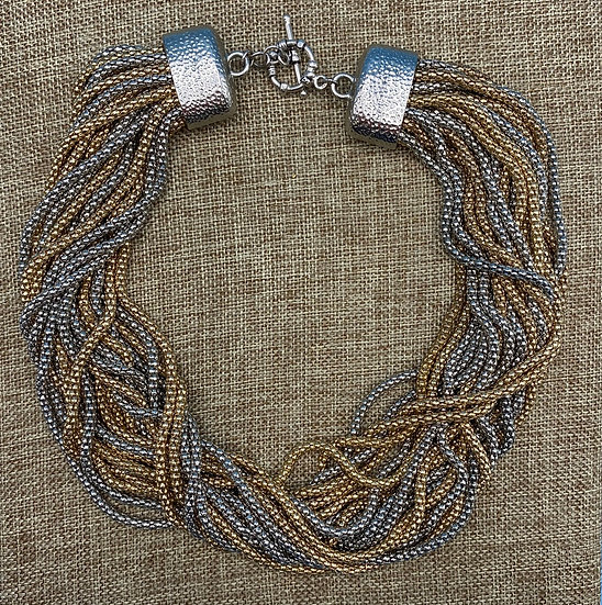 "Necklace- Multi strand gold & silver tone, worn twisted large closure 19""length."