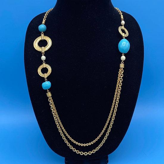 "Necklace- Signed TTahari gold tone / faux turquoise Length 36"""