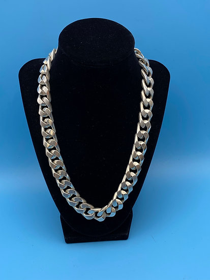 """Necklace- Sterling silver/ heavy chain/ secured closure length 18"""""""