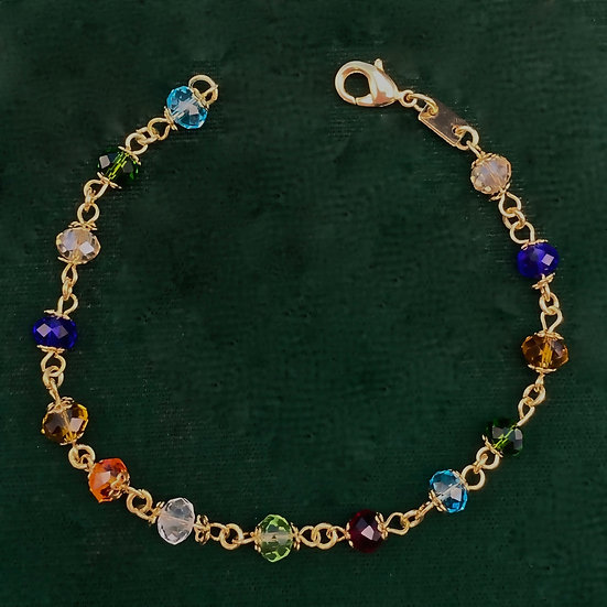 """Bracelet- 18kt gold filled with assorted crystals length 8"""""""