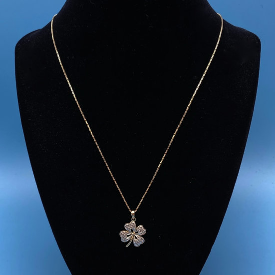 "Vermeil Sterling necklace with four leaf clover. Length 19"" with pendant."
