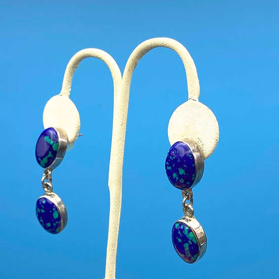 Sterling silver pierced earrings with Royal blue stone/turquoise made in Mexico.