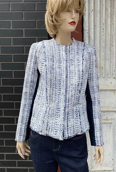 Elie Tahari Blue/white nub jacket hidden snap closure. Size Small.