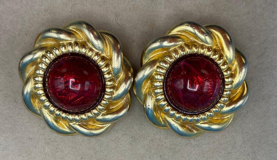 Clip on earrings- circular brass glass.