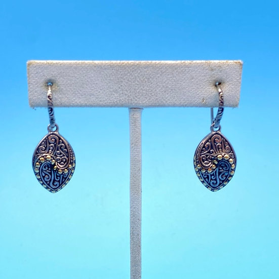Earrings- Signed SAMUAL B Behnam Silver and 18kt gold.