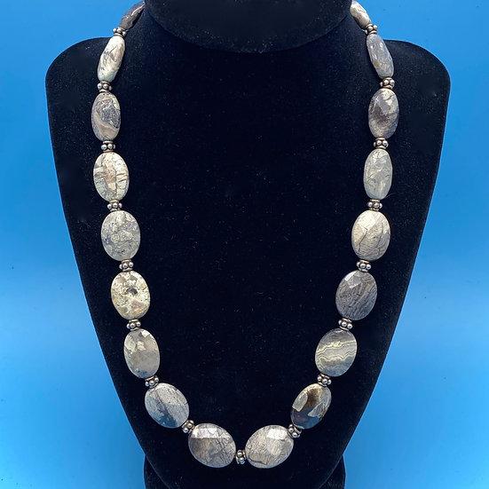 "Necklace- Beige/grey stone  length 21"""