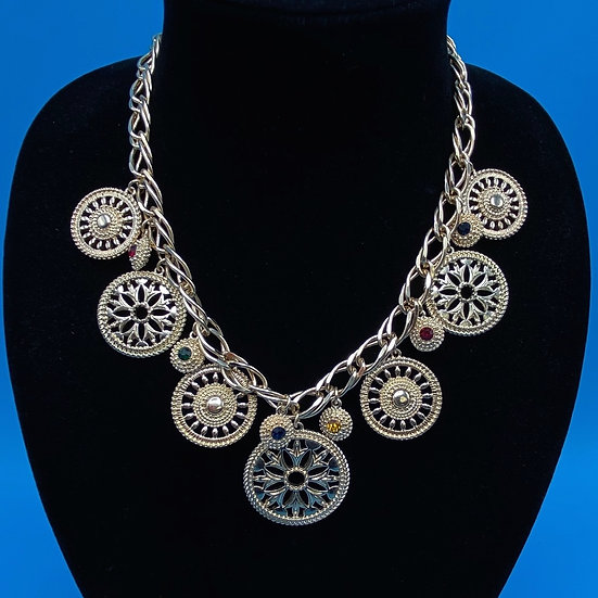 """Necklace- gold tone/ charms assorted sizes/ Length 20""""signed charter club."""