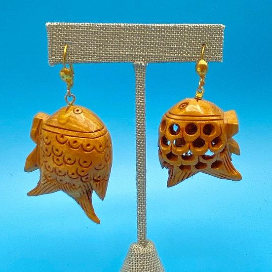 Pierced Earrings- wooden carved fish