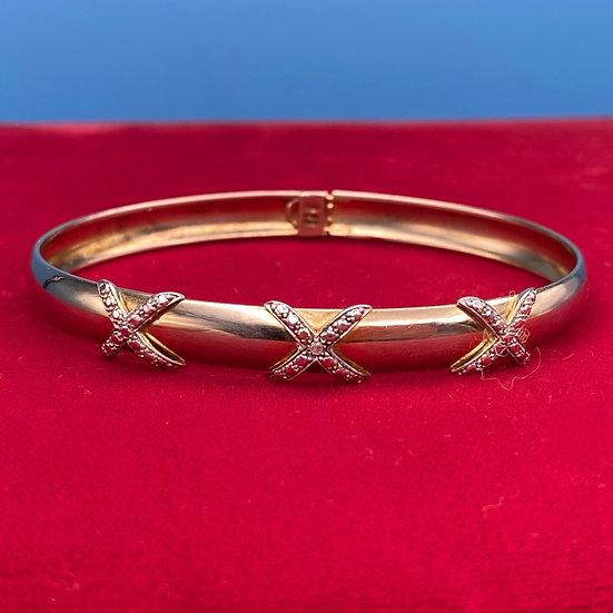 Bracelet- Sterling silver cubic zirconia x's.