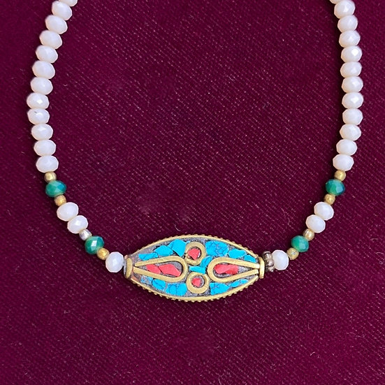 """Bracelet: turquoise/coral/brass/crystal's Length 7""""."""
