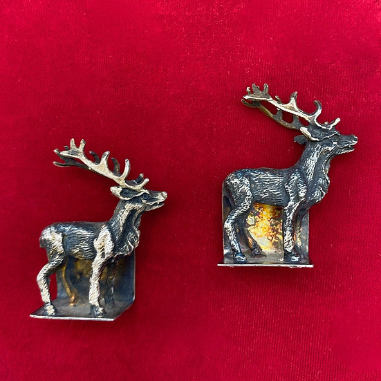 Animal vintage Sterling silver place card holders.Made in England,jewelers mark.