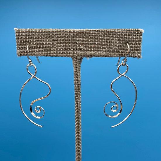 Earrings-pierced unique shape Sterling.