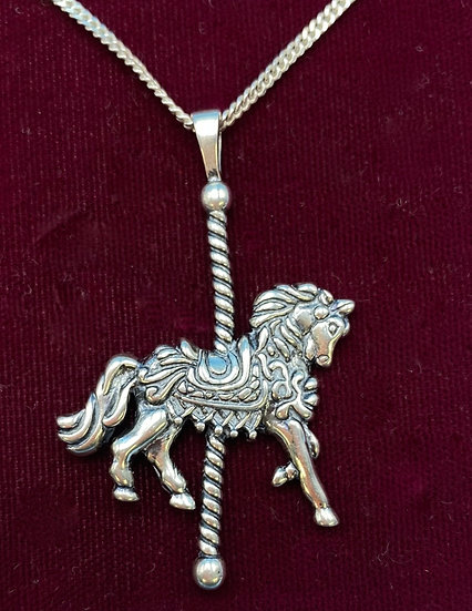 """Necklace- Sterling silver chain w sterling silver carousel horse 20"""" length."""
