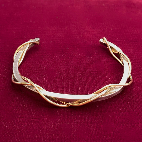 Bracelet- Sterling silver with brass wrapping