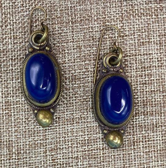 Pierced  Earrings- Oblong brass with Dark blue polyethylene.