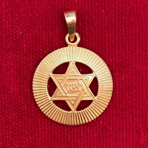 Gold 14kt Star of David in circle Pendant small.