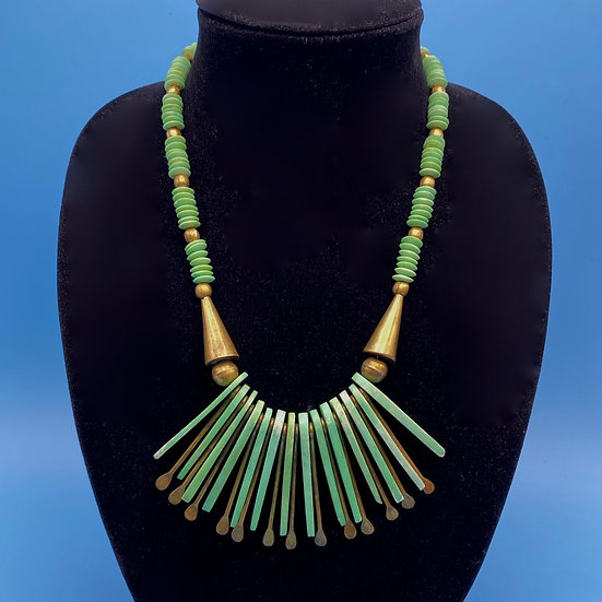 """Unique dyed green necklace with copper accent length 24"""" incl hanging pendants."""