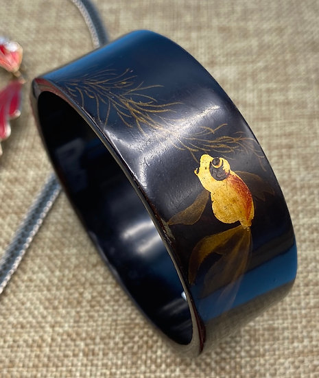 """Bracelet- painted quail fish on thin lacquered wood Width-3"""""""