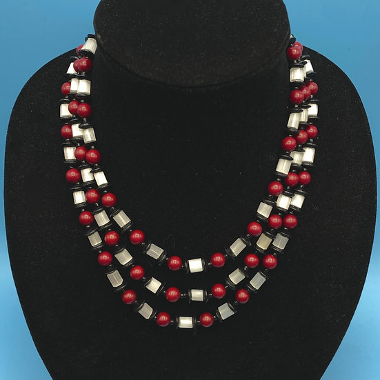 Three strand beautiful necklace- frosted glass/ onyx and rust beads.