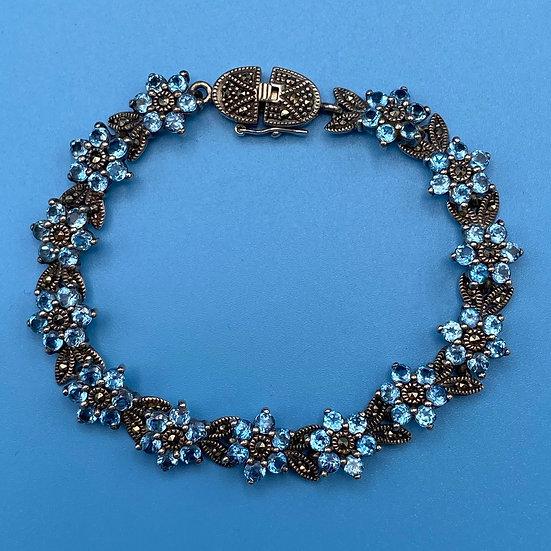 "Bracelet: Sterling/aquamarine crystals/marcasite special closure. Length 7"""