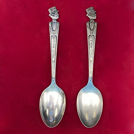 Silver plate Charlie McCarthy spoon set.