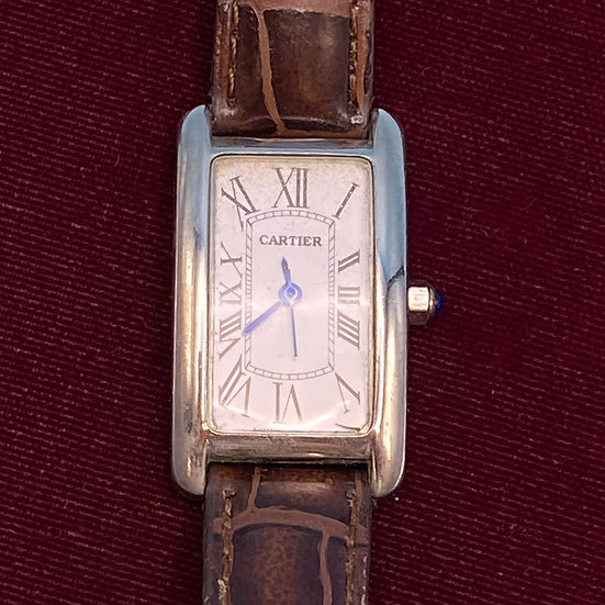 Watch- Cartier- new battery- gently loved- leather band Faux