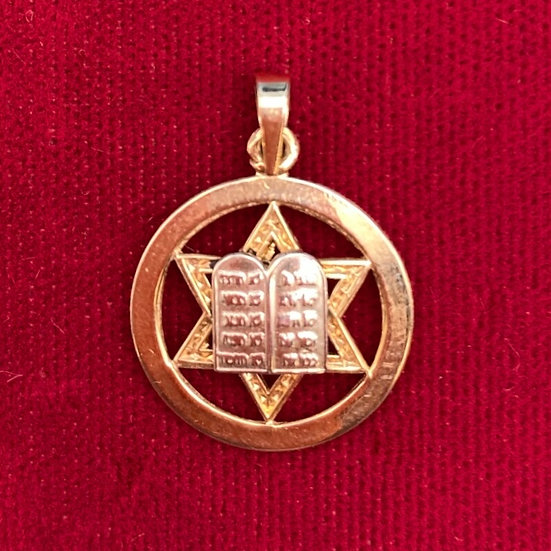 Gold 14kt Star of David in circle with tablets Pendant small.