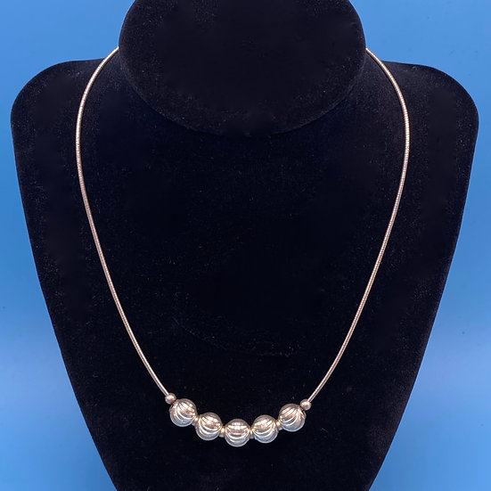 """Necklace- Sterling Silver  with etched balls. Length 16"""""""