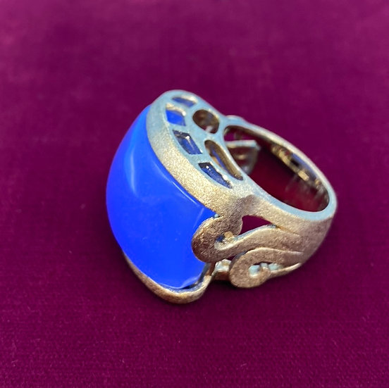 Ring-brass tone/curved blue/Signed RL/Ralph Lauren size 7/8 carnelian.