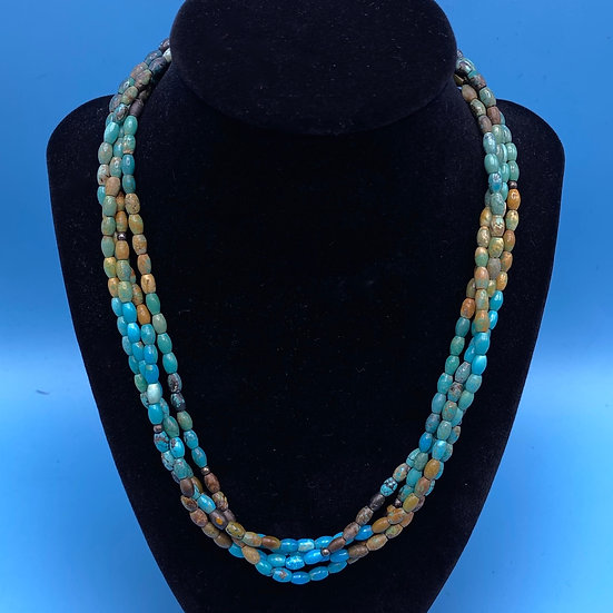 """Necklace-Signed DTR Turquoise/Sterling length 16""""."""