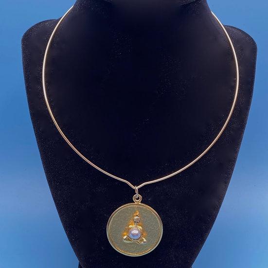 Choker Gold tone choker with Buddha pendant