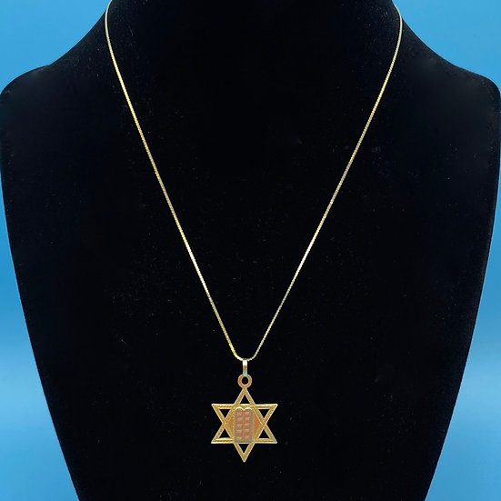 Gold 14kt necklace with Medium Star of David pendant .