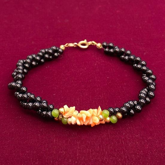 "Bracelet- Coral/green &black stone. Length 8"""