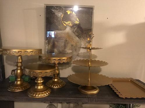 Cake Stand Gold Set