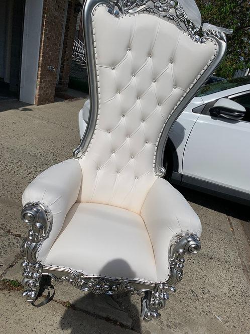 Single Throne Chair white/silver