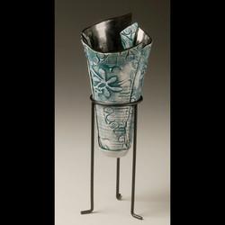 Teal Poppy vase