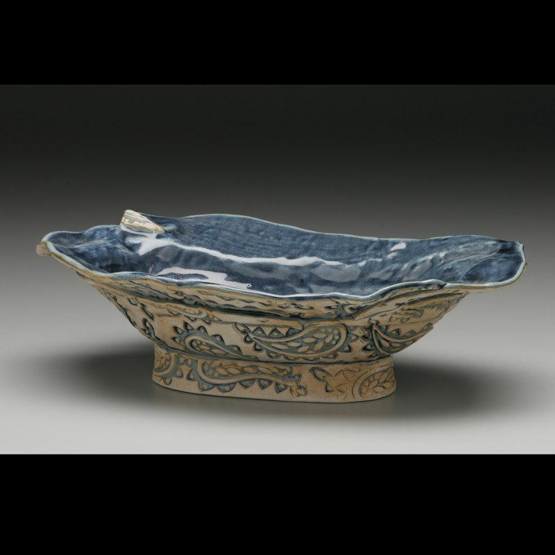 Oval Paisley Denim Bowl