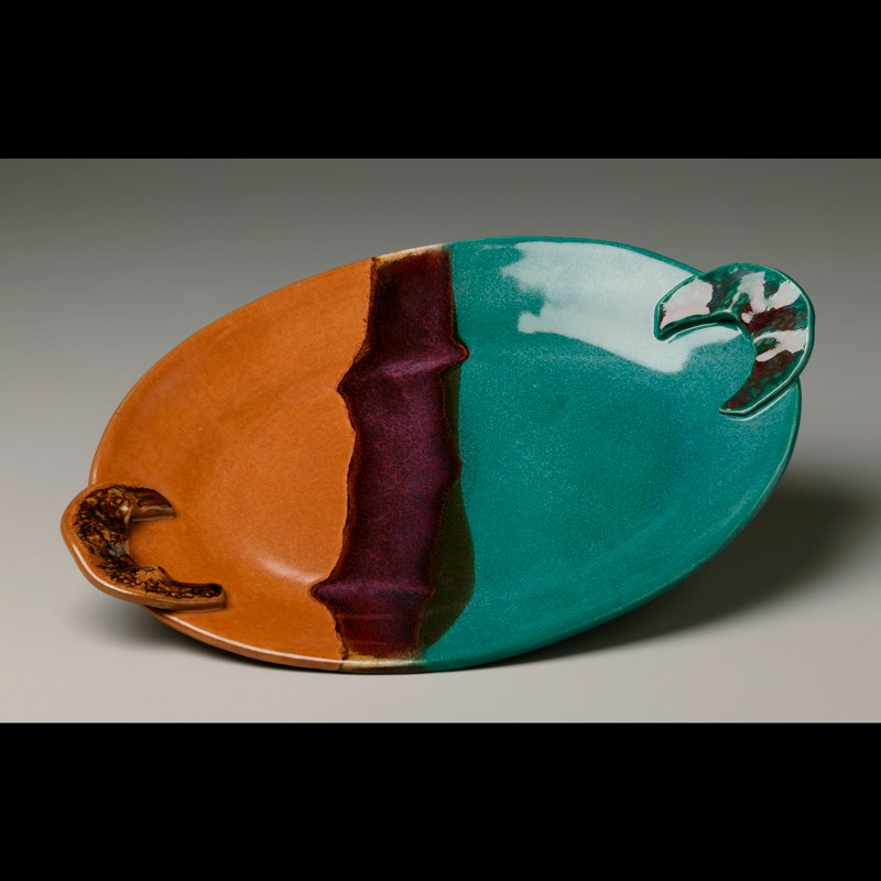 Oval Pumpkin, Red, and Teal Platter