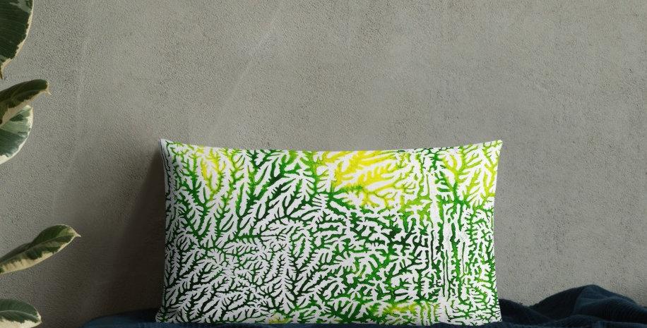 Greens & Blues Abstract Dendritic Bolster Cushions