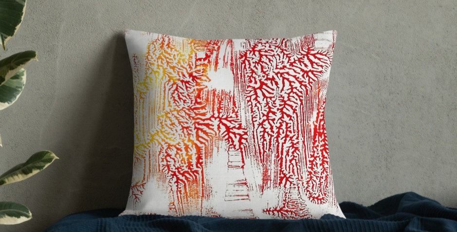 Reds & Yellows Abstract Dendritic Premium Cushions