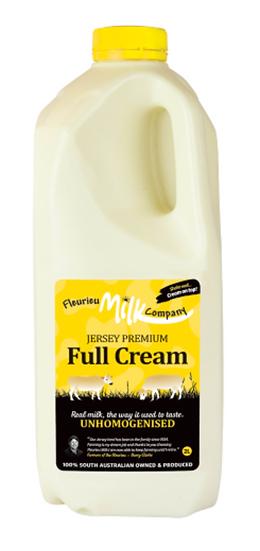 Fleurieu Milk Co's 2 LTR Jersey Premium Full Cream (un-homogenised) (YELLOW LID)