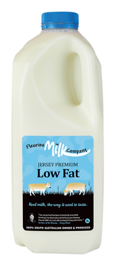 Fleurieu Milk Co's 2 LTR Jersey Premium Low Fat  (LIGHT BLUE LID)