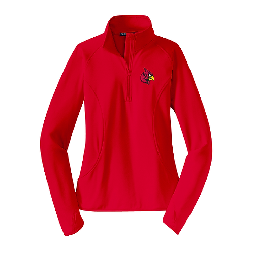 Ladies CCA Cardinal Perf 1/2 Zip