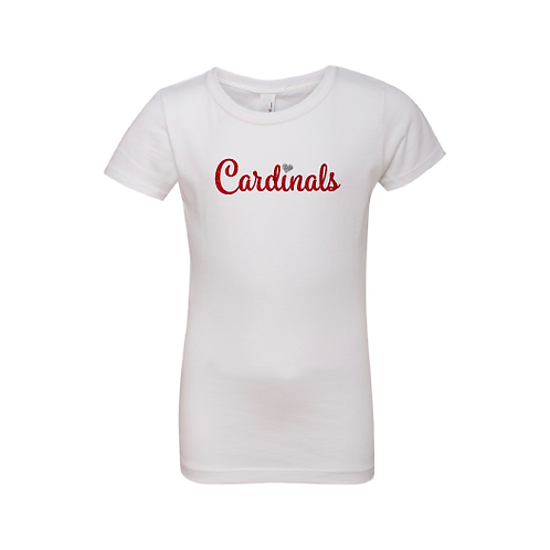 Girls Glitter Cardinals Tee